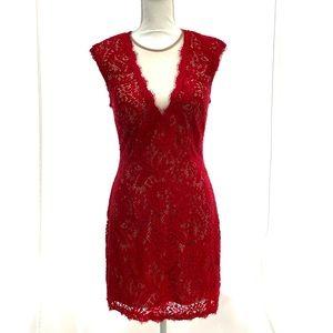 Aqua Red Lace Mini Dress - Size 8